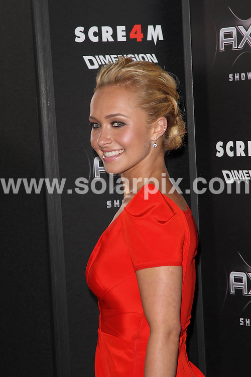 **ALL ROUND PICTURES FROM SOLARPIX.COM**                                             **SYNDICATION RIGHTS FOR UK, AUSTRALIA, DENMARK, PORTUGAL, S. AFRICA, SPAIN & DUBAI (U.A.E) & ASIA (EXCLUDING JAPAN) ONLY**                                                                                  Caption:  Arrivals at the Los Angeles Premiere of Scream 4, held at Grauman's Chinese Theatre - Hollywood, CA, USA. 11 April 2011                                                                             This pic: Hayden Panettiere                                                                                             JOB REF: 13135 PHZ Evans      DATE: 11_04_2011                                                          **MUST CREDIT SOLARPIX.COM OR DOUBLE FEE WILL BE CHARGED**                                                                      **MUST AGREE FEE BEFORE ONLINE USAGE**                               **CALL US ON: +34 952 811 768 or LOW RATE FROM UK 0844 617 7637**