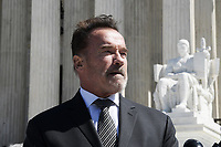 Washington, DC - March 26, 2019: Former California Governor Arnold Schwarzeneger holds a news conference March 26, 2019, after attending Supreme Court oral arguments in Rucho vs Comon Cause and Lamone vs Benisek, dealing with partisan gerrymandering.  (Photo by Lenin Nolly/Media Images International)