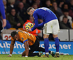 Adama Traore of Wolverhampton Wanderers and James Maddison of Leicester City during the Premier League match at Molineux, Wolverhampton. Picture date: 14th February 2020. Picture credit should read: Darren Staples/Sportimage