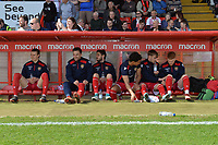 Stevenage bench during Stevenage vs Cambridge United, Sky Bet EFL League 2 Football at the Lamex Stadium on 14th April 2018