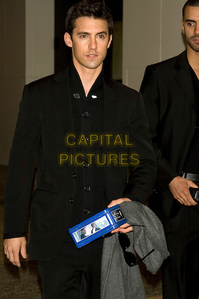 MILO VENTIMIGLIA.Appearance on TRL at MTV Studios, New York, NY, USA..April 15th, 2008.half length black jacket top .CAP/LNC/TOM.©TOM/LNC/Capital Pictures.