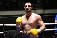 Anees Taj (blue shorts) defeats Dmitrij Kalinovskij during a Boxing Show at York Hall on 15th February 2020