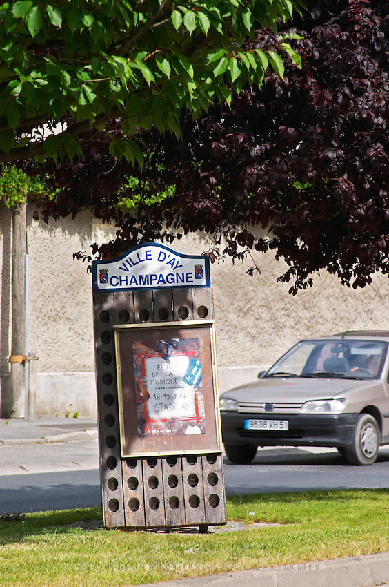 In front of the winery in the village Ay a sign made from an old pupitre (for remuage, riddling) with publicity for a music concert Champagne house Maison Giraud-Hemart, also called Champagne Henri Giraud, Ay, Vallée de la Marne, Champagne, Marne, Ardennes, France