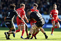 Dom Morris of Saracens takes on the Northampton Saints defence. Premiership Rugby Cup Final, between Northampton Saints and Saracens on March 17, 2019 at Franklin's Gardens in Northampton, England. Photo by: Patrick Khachfe / JMP