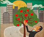 Conceptual illustration of businessman reaching at apple on tree depicting hard work