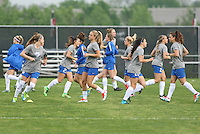 Piscataway, NJ, May 13, 2016. The Boston Breakers go through their warmups prior to their game against Sky Blue FC. Sky Blue FC defeated the Boston Breakers, 1-0, in a National Women's Soccer League (NWSL) match at Yurcak Field..