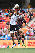 2nd February 2019, Spotless Stadium, Sydney, Australia; HSBC Sydney Rugby Sevens; England versus Fiji; Josua Vakurunabili of Fiji wins the kick off as Charlton Kerr of England challenges