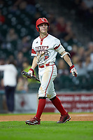 Hayden Cantrelle (5) of the Louisiana Ragin' Cajuns walks back to the dugout after striking out against the Mississippi State Bulldogs in game three of the 2018 Shriners Hospitals for Children College Classic at Minute Maid Park on March 2, 2018 in Houston, Texas.  The Bulldogs defeated the Ragin' Cajuns 3-1.   (Brian Westerholt/Four Seam Images)