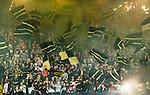 Solna 2014-08-13 Fotboll Allsvenskan AIK - Djurg&aring;rdens IF :  <br /> AIK:s supportrar med flaggor innan matchen<br /> (Foto: Kenta J&ouml;nsson) Nyckelord:  AIK Gnaget Friends Arena Allsvenskan Derby Djurg&aring;rden DIF supporter fans publik supporters