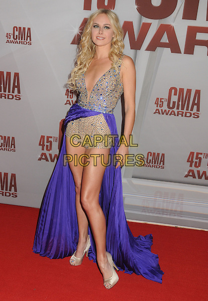 Laura Bell Bundy.The 45th Annual CMA Awards, Country Music's Biggest Night, held at Bridgestone Arena, Nashville, Tennessee, USA..November 9th, 2011.full length playsuit skirt purple dress blue beads beaded  low cut plunging neckline .CAP/ADM/BP.©Byron Purvis/AdMedia/Capital Pictures.