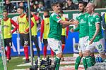 13.04.2019, Weser Stadion, Bremen, GER, 1.FBL, Werder Bremen vs SC Freiburg, <br /> <br /> DFL REGULATIONS PROHIBIT ANY USE OF PHOTOGRAPHS AS IMAGE SEQUENCES AND/OR QUASI-VIDEO.<br /> <br />  im Bild<br /> 1:0 kopfball Davy Klaassen (Werder Bremen #30)<br /> gegen #scv49 Alexander Schwolow (SC Freiburg #01) tor <br /> <br /> <br /> jubel Nuri Sahin (Werder Bremen #17) Max Kruse (Werder Bremen #10)<br /> <br /> <br /> Foto &copy; nordphoto / Kokenge