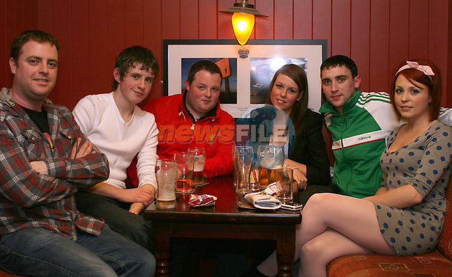 Niall Whelan, Podge Leddy, David Clerkin, Rachel Williams, Karl Dyas and Ciara Leddy at the Simon Moroney Memorial Pool Tournament in O'Caseys...Photo NEWSFILE/Jenny Matthews.(Photo credit should read Jenny Matthews/NEWSFILE)....This Picture has been sent you under the condtions enclosed by:.Newsfile Ltd..The Studio,.Millmount Abbey,.Drogheda,.Co Meath..Ireland..Tel: +353(0)41-9871240.Fax: +353(0)41-9871260.GSM: +353(0)86-2500958.email: pictures@newsfile.ie.www.newsfile.ie.FTP: 193.120.102.198.