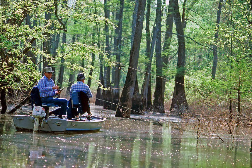 Anglers casting for bass on a small oxbow lake, Henry Gray/Hurricane Lake Wildlife Management Area, Arkansas
