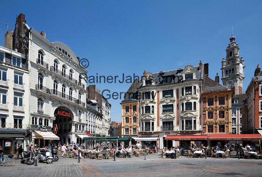 France, The North, Lille: Restaurants in the Place du Général de Gaulle in Vieux Lille