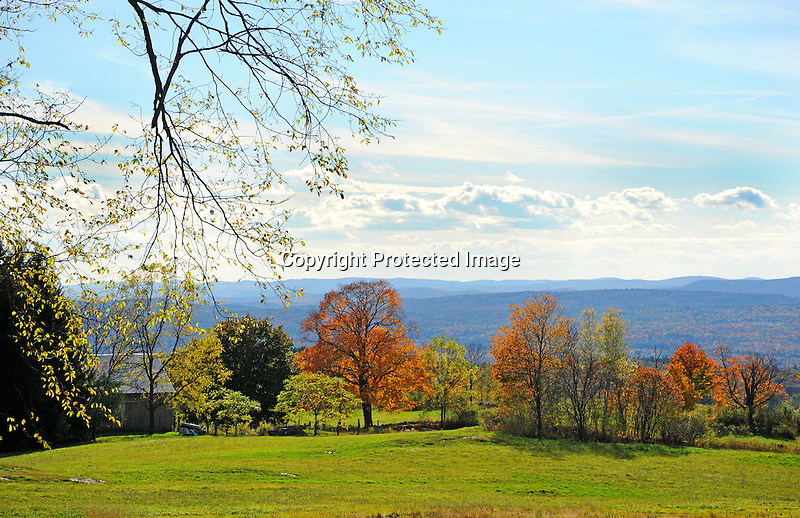 Hilltop Homestead with Distant View during Fall Season in Walpole, New Hampshire USA
