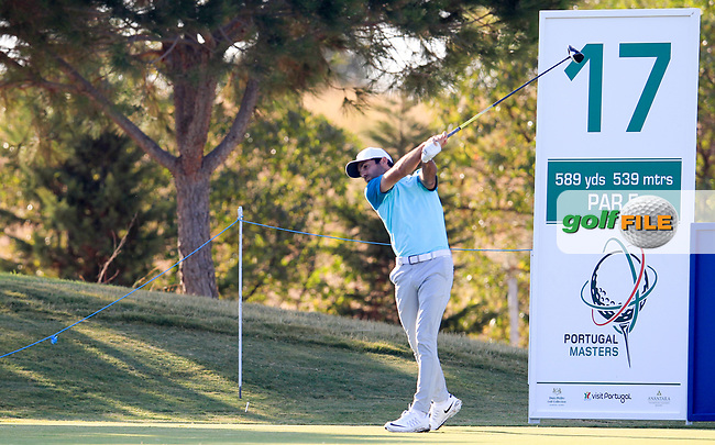 Joel Stalter (FRA) on the 17th tee during the 1st round of the 2017 Portugal Masters, Dom Pedro Victoria Golf Course, Vilamoura, Portugal. 21/09/2017<br /> Picture: Fran Caffrey / Golffile<br /> <br /> All photo usage must carry mandatory copyright credit (&copy; Golffile | Fran Caffrey)