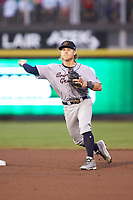 Bowling Green Hot Rods shortstop Taylor Walls (10) makes a throw to first base against the Dayton Dragons at Fifth Third Field on June 8, 2018 in Dayton, Ohio. The Hot Rods defeated the Dragons 11-4.  (Brian Westerholt/Four Seam Images)