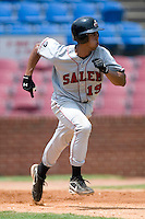 Salem Avalanche shortstop Edwin Maysonet (19) hustles down the first base line versus the Winston-Salem Warthogs at Ernie Shore Field in Winston-Salem, NC, Wednesday, August 2, 2006.  The Warthogs shutout the Avalanche 6-0.