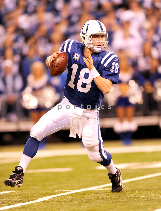 PEYTON MANNING, of the Indianapolis Colts, in action during the Colts game against the New York Jets on December 27, 2009 in Indianapolis, Indiana. Jets won 29-15.