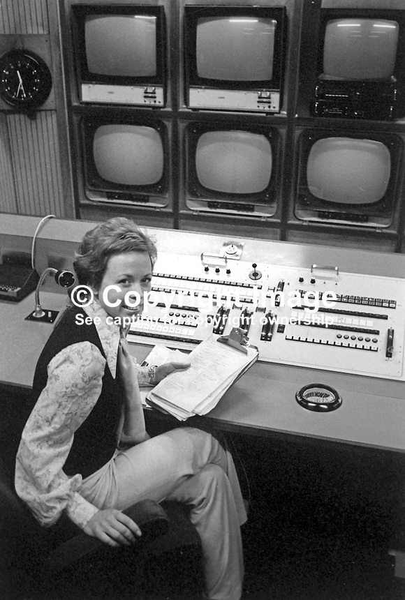 Margaet Percy, continuity announcer, UTV, Ulster Television, Belfast, N Ireland, November 1974. She was also a presenter with BBC Television N Ireland. 197411000623a<br />