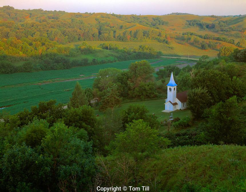 Historic church  Iowa Loess Hills, Iowa  19th century church  Near Missouri River  July  Sunrise