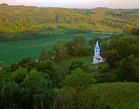 Historic church  Iowa Loess Hills, Iowa  19th century church  Near Missouri River  July  Sunrise