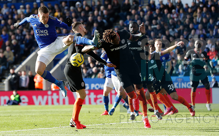 Jamie Vardy of Leicester City challenges Tammy Abraham of Chelsea during the Premier League match at the King Power Stadium, Leicester. Picture date: 1st February 2020. Picture credit should read: Darren Staples/Sportimage