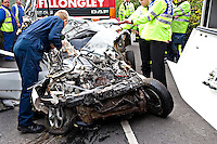 Accident investigating officers survey the scene of a Fatal incident involving a Renault Clio car. This image may only be used to portray the subject in a positive manner..©shoutpictures.com..john@shoutpictures.com
