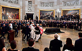 A military honor guard carries the casket of former Senator John McCain into the Capitol Rotunda where he will lie in state at the U.S. Capitol, in Washington, DC on Friday, August 31, 2018. McCain, an Arizona Republican, presidential candidate, and war hero, died August 25th at the age of 81. He is the 31st person to lie in state at the Capitol in 166 years. Photo Ken Cedeno/UPI