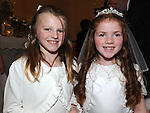 Meabh Maguire and Caoimhe O'Brien who received First Holy Communion in St. Cianan's church Duleek. Photo: Colin Bell/pressphotos.ie