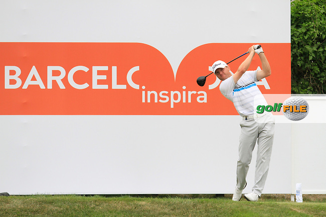 Michael Hoey (NIR) on the 9th tee during Round 1 of the Open de Espana  in Club de Golf el Prat, Barcelona on Thursday 14th May 2015.<br /> Picture:  Thos Caffrey / www.golffile.ie