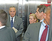 Governor Andrew Cuomo (Democrat of New York), right, and United States Senators Kirsten Gillibrand (Democrat of New York), center, and Chuck Schumer (Democrat of New York), right, in an elevator during the Governor's visit Capitol Hill for a series of meetings with Congressional Leadership on Monday, December 3, 2012..Credit: Ron Sachs / CNP.(RESTRICTION: NO New York or New Jersey Newspapers or newspapers within a 75 mile radius of New York City)