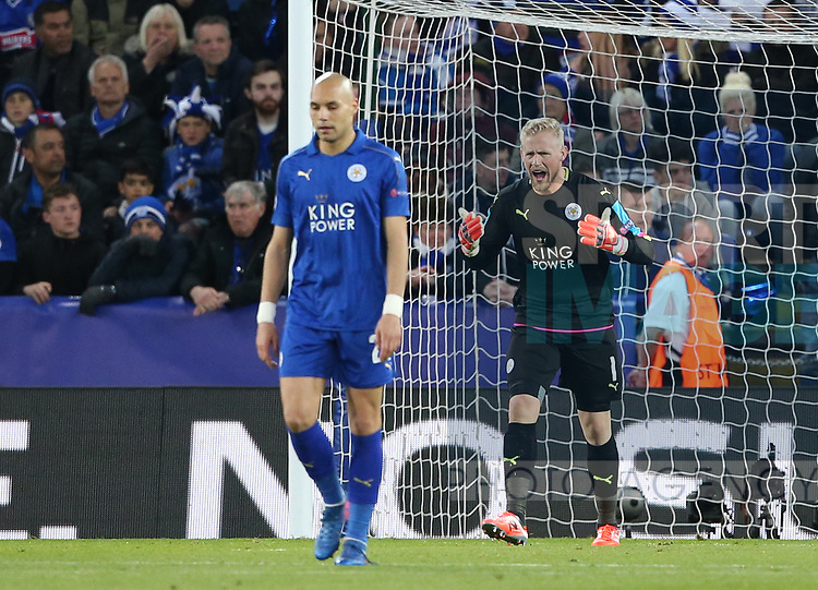Leicester's Kasper Schmeichel looks on dejected after Atletico's Saul Niguez scores his sides opening goal during the Champions League Quarter-Final 2nd leg match at the King Power Stadium, Leicester. Picture date: April 18th, 2017. Pic credit should read: David Klein/Sportimage