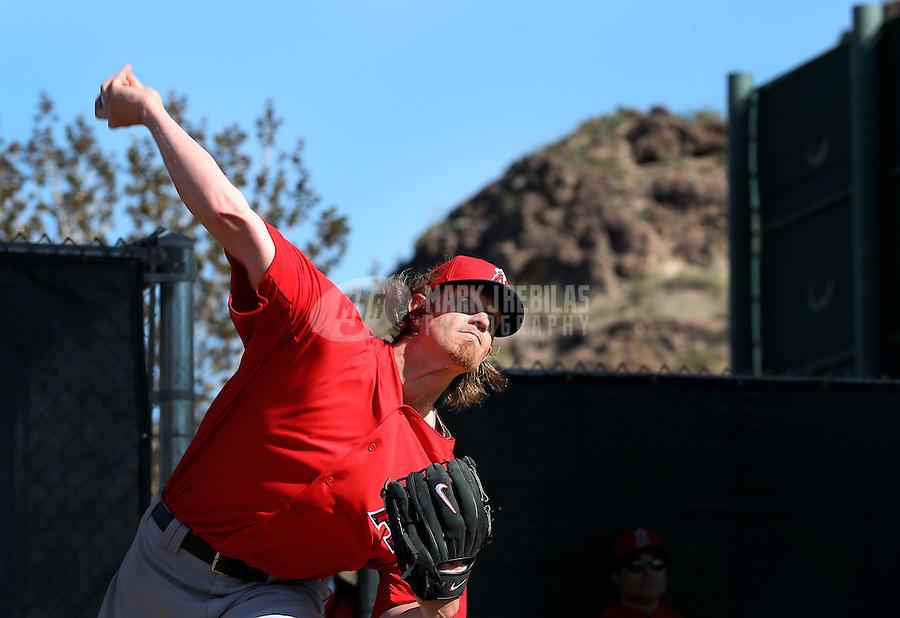 Feb. 12, 2013; Tempe, AZ, USA: Los Angeles Angels pitcher Jered Weaver throws during spring training at Tempe Diablo Stadium. Mandatory Credit: Mark J. Rebilas-USA TODAY Sports