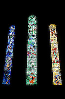 STAINED GLASS<br /> By Marc Chagall, Fraumunster Church<br /> Zurich, Switzerland<br /> Glass painted and fired or coloured by adding metallic salts during its manufacture.