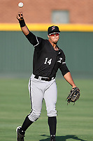 Left fielder Antonio Rodriguez (14) of the Kannapolis Intimidators prior to a game against the Greenville Drive on Friday, July 14, 2017, at Fluor Field at the West End in Greenville, South Carolina. Greenville won, 2-0. (Tom Priddy/Four Seam Images)
