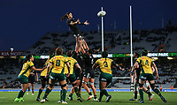 Charmaine Smith goes up for lineout ball during the Laurie O'Reilly Memorial Trophy international women's rugby match between the New Zealand Black Ferns and Australia Wallaroos at Eden Park in Auckland, New Zealand on Saturday 25 August 2018. Photo: Simon Watts / lintottphoto.co.nz