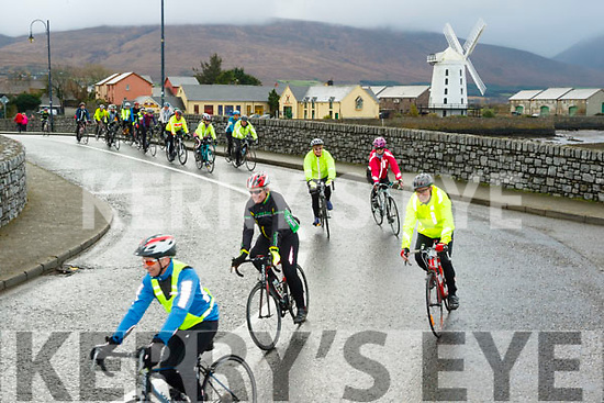A fitting back drop to the start of the annual Jim Duffy memorial cycle with saw over 120 cyclists heading for Castleisland and back last Saturday.