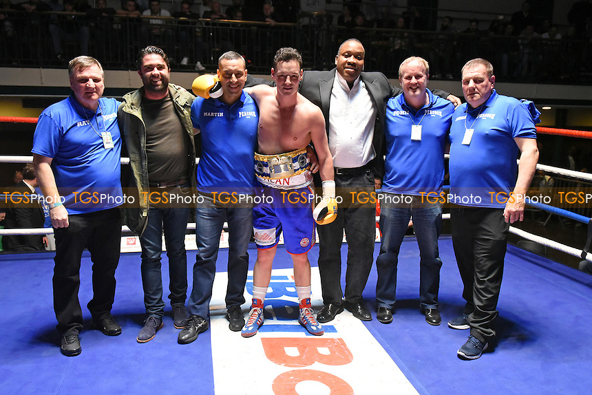 Alan Higgins (blue shorts) defeats Simone Lucas during a Boxing show at York Hall on 16th April 2016