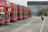 A driver walks to his bus at a Stagecoach bus depot in Stratford, on the proposed site of the Olympic Village which will be built if London's bid for the 2012 Games is successful.