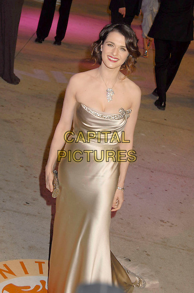 RACHEL WEISZ.The 2007 Vanity Fair Oscar Party Hosted by Graydon Carter held at Morton's, West Hollywood, California, USA, 25 February 2007..oscars half length Vera wang gold strapless dress silk satin gown brooch necklace.CAP/ADM/GB.©Gary Boas/AdMedia/Capital Pictures.