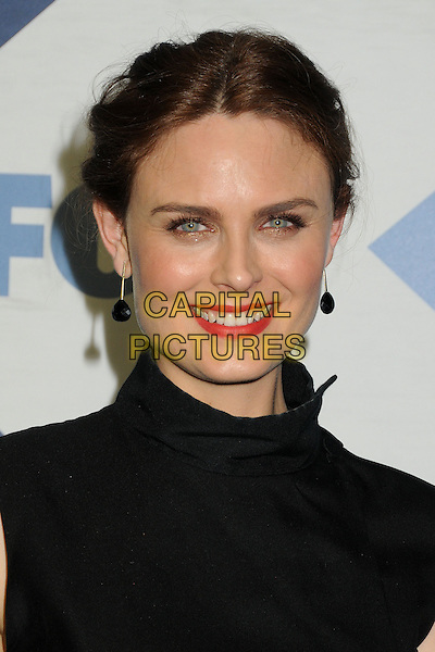 Emily Deschanel<br /> Fox All-Star Summer 2013 TCA Party held at Soho House, West Hollywood, California, USA, 1st August 2013.<br /> portrait headshot red lipstick  black high neck beauty hair up earring smiling earrings dangly <br /> CAP/ADM/BP<br /> &copy;Byron Purvis/AdMedia/Capital Pictures