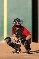 Chris McMurray #26 of the Visalia Rawhide catches in the bullpen before a game against the Rancho Cucamonga Quakes at LoanMart Field on May 25, 2013 in Rancho Cucamonga, California. Rancho Cucamonga defeated Visalia, 11-1. (Larry Goren/Four Seam Images)