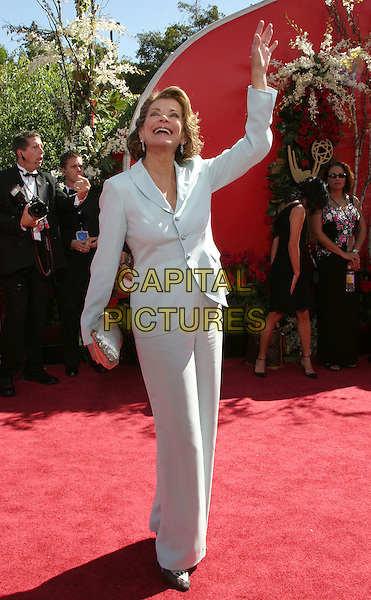 JESSICA WALTER.56th Annual Prime Time Emmy Awards held at the Shrine Auditorium. .September 19th, 2004.full length, light blue, pale blue dress suit, waving gesture.www.capitalpictures.com.sales@capitalpictures.com.©Don Shaffer/AdMedia/Capital Pictures.
