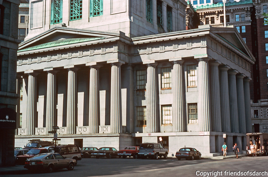 Boston:  the Customs House base--1837-47.  Ammi B. Young, original architects.  Greek Doric portica with a Roman dome topped this building. 32 columns of granite.  Photo '88.