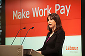 Make Work Pay.  Shadow Work & Pensions Secretary Rachel Reeves MP speaks at a Labour Party general election press conference at the London office of Bloombergs.