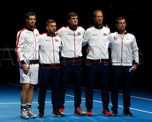 04.03.2016. Barclaycard Arena, Birmingham, England. Davis Cup Tennis World Group First Round. Great Britain versus Japan. The Great Britain team before the match as the national anthems are played.