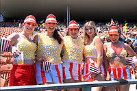 Fans in the terraces. Day one of the 2020 HSBC World Sevens Series Hamilton at FMG Stadium in Hamilton, New Zealand on Saturday, 25 January 2020. Photo: Dave Lintott / lintottphoto.co.nz