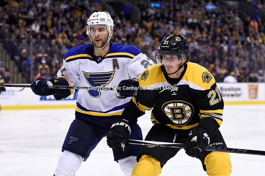 Tuesday, December 22, 2015: St. Louis Blues defenseman Alex Pietrangelo (27) and Boston Bruins left wing Loui Eriksson (21) in game action during the National Hockey League game between the St. Louis Blues and the Boston Bruins held at TD Garden, in Boston, Massachusetts. The blues beat the Bruins 2-0 in regulation time. Eric Canha/CSM
