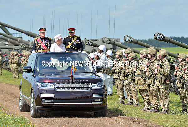 26.05.2016; Larkhill,UK: QUEEN ELIZABETH<br />Captain-General of The Royal Regiment of Artillery, attended a Review of the Royal Artillery on the occasion of their Tercentenary at Knighton Down, Larkhill<br />The Queen has been Captain-General of The Royal Regiment of Artillery since 6 February 1952.<br />Mandatory Credit Photo: &copy;MoD/NEWSPIX INTERNATIONAL<br /><br />(Failure to credit will incur a surcharge of 100% of reproduction fees)<br />IMMEDIATE CONFIRMATION OF USAGE REQUIRED:<br />Newspix International, 31 Chinnery Hill, Bishop's Stortford, ENGLAND CM23 3PS<br />Tel:+441279 324672  ; Fax: +441279656877<br />Mobile:  07775681153<br />e-mail: info@newspixinternational.co.uk<br />Please refer to usage terms. All Fees Payable To Newspix International